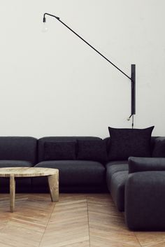 urbnite — Potence Lamp by Jean Prouve Dark Sofa, Black Couches, Black Sectional, Cozy Living Rooms, Living Room Interior, Interior Design Inspiration, Room Inspiration, Interior And Exterior, Interior Architecture