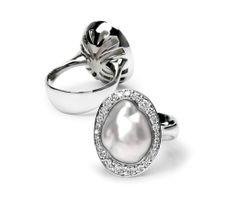 Baroque Australian South Sea pearl and diamond ring by Simson Bespoke