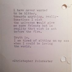 The Universe and Her, and I poem #133 written by Christopher Poindexter