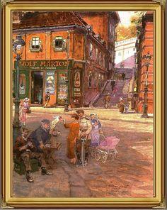 "Sándor lépcső Árok u. sarok -  TABÁN*ANNO*GALERIA: ZÓRÁD ERNŐ ""100"" jubileumi tárlat Budapest, Tao, Painting, Painting Art, Paintings, Painted Canvas, Drawings"