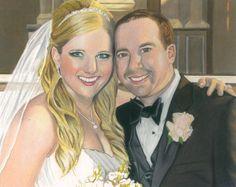 Custom Colored Pencil Portrait Wedding by TreanneSchuttArt on Etsy, $150.00
