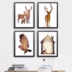 Modern Minimalist Deer Elk Canvas Art Painting Abstract Forest Silhouette Animals Posters And Prints Wall Pictures Room