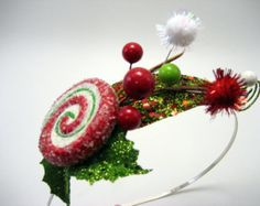 Whoville Inspired Mistletoe & Holly Headband with Candy Accent - Christmas Elf - Cindy Lou Who - Holiday Party - Wonka