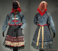Complete Woman's Slovak Folk Costume from Vazec, Slovakia - blueprint jacket & pleated skirt | embroidered apron | foral underskirt | scarf