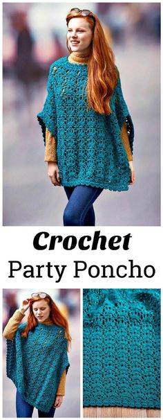 Stylish Crochet Party Poncho - 20 Free Crochet Summer Poncho Patterns for Women's - Page 2 of 3 - DIY & Crafts