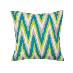 """This gorgeous throw pillow will be that """"pop"""" of color you need to liven up your living space. The designer chevron pattern features cool gray white teal and li"""