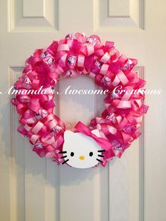 Hey, I found this really awesome Etsy listing at http://www.etsy.com/listing/151543243/hello-kitty-ribbon-wreath