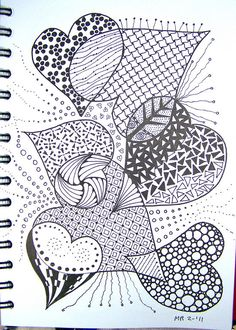 Doodles with Intent - Marilyn - heart zentangle. Another to print and color in! Zentangle Drawings, Doodles Zentangles, Zentangle Patterns, Doodle Drawings, Doodle Art, Zen Doodle Patterns, Doodle Borders, Tangle Doodle, Tangle Art
