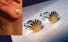 Small Shell Stud Earrings, Gold Plated  from CamelysUnikatBijoux by DaWanda.com