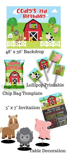 Digital Printables, Chip bags, Invites & Centerpieces by EllieRosePartyDesign 21st Party, Birthday Party Favors, Birthday Parties, Farm Animal Birthday, Farm Birthday, Barnyard Party, Farm Party, Party Printables, Leo