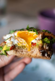 ROASTED PIQUILLO PEPPERS, AVOCADO MASH, EGGS OVER EASY & BASIL CHIFFONADE ON OAT BRAN FRENCH BREAD TOAST [thedevilwearsparsley]