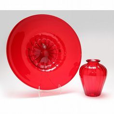 Archimede Seguso, red glass vase and bowl - by Leland Little Auctions #homedecor