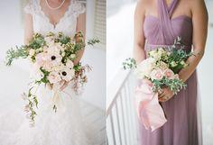 Textured bouquet with soft pinks and purples for watercolor themed elopement. Badgley Mischka Bridal, Augusta Jones, Bridal Gowns, Wedding Dresses, Spring Bouquet, Bridal Salon, Wedding Dj, Designer Dresses, White Dress