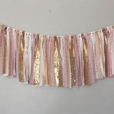 Light Pink and Gold Banner/ Birthday Banner/ Party/ Baby Shower/ Photography Ban. - Light Pink and Gold Banner/ Birthday Banner/ Party/ Baby Shower/ Photography Banner/ Garland - Pink And Gold Birthday Party, Girl Birthday, Birthday Parties, Golden Birthday, Gold Party, Princess Birthday, Diy Birthday Banner, Birthday Decorations, Baby Girl Shower Decorations