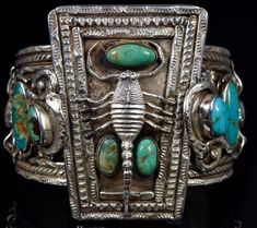 Navajo Native American Old Pawn Turquoise Scorpion Snake Silver Cuff #Unbranded