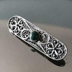 Sterling silver filigree Art Deco bar brooch vintage mini pin brooch Silver jewelry with semi precious stone Art Deco Bar, Silver Jewelry, Unique Jewelry, Sterling Silver Filigree, Green Stone, Vintage Brooches, Special Gifts, Brooch Pin, Handmade Gifts