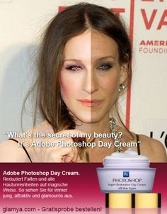Sarah Jessica Parker. The photoshopped image compared to the image without photoshop. (Why the long face?)