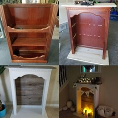 Convert a dresser top bookshelf into a faux fireplace. Add bottom and top pieces… Convert a dresser top bookshelf into a faux fireplace. Add bottom and top pieces of wood and some peel and stick flooring as a backing, paint, stain and viola! Refurbished Furniture, Repurposed Furniture, Furniture Makeover, Painted Furniture, Faux Fireplace Mantels, Farmhouse Fireplace, Cabin Fireplace, Fireplace Ideas, Black Fireplace