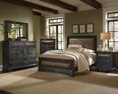Unique Whitewashed Sleigh Bedroom Set Distressed Tuscan Style ...