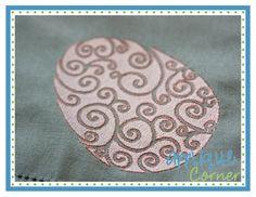 Easter Egg Swirl Filled Embroidery Design