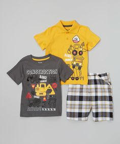 Another great find on #zulily! Yellow Construction Polo Set - Infant #zulilyfinds