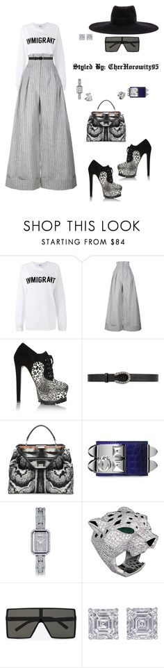 """""""Immigrant"""" by cherhorowitz95 ❤ liked on Polyvore featuring Ashish, Jacquemus, Alaïa, Gucci, Fendi, Hermès, Chanel, Yves Saint Laurent, Chopard and Jewels by Viggi"""