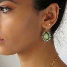 Dangle Turquoise Teardrop Earrings, victorian inspired, Unique swarovski  goldfilled 14k Earrings, beadweaving earrings  gift for her
