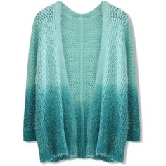 Chicwish Dip Dyed Fluffy Cardigan in Green (595 MXN) ❤ liked on Polyvore featuring tops, cardigans, chicwish, jackets, sweaters, green, relaxed fit tops, blue green tops, dip dye top and drop shoulder tops