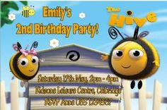 The Hive birthday party invitation with Buzzbee and Rubee