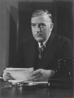 """PRIME MINISTER ROBERT MENZIES BROADCASTING THE NEWS OF THE OUTBREAK OF WORLD WAR II. Born in Jeparit, Robert Menzies 1894–1978 became Australia's longest serving Prime Minister. He earned the nickname """"Pig Iron Bob"""" from Natimuk's Rupert Lockwood, journalist, in January 1939, after his resistance in 1938 to a waterside workers' ban on exports of pig-iron to Japan. The war years were a low point in his political career. His 'Forgotten People' speech was his pitch to the Australian middle…"""