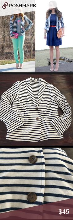 J. Crew striped blazer Lightweight nautical striped knit blazer, cream with navy striped, unlined, 2 front buttons, (first picture for inspiration only), like new! J. Crew Jackets & Coats Blazers