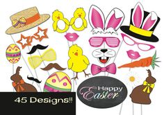Easter Photo booth Party Props Set  MASSIVE 45 by TheQuirkyQuail, $8.00