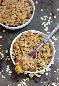 Easy Ginger Chia Peach Crisp - gluten-free and delicious for a summer dessert.