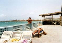 sunbathers at UN Beach Club in Mogadishu in the 1980s