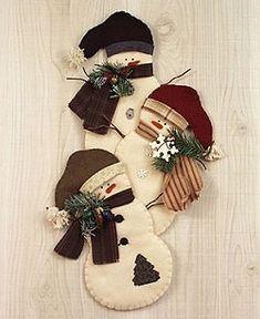 *NEEDLE FELT ART ~ Snowman Trio Decorations/Wall Hanging - Wool Felt, Felt Appliqué Countryside Craft PATTERN