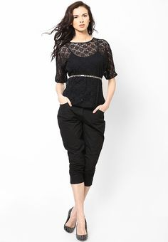 Black Floral Net 3/4Th Sleeves Top at $30.40 (24% OFF)