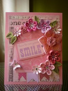 Handmade Pink Quilling Paper Card Love to See Your Smile by FromQuillingWithLove