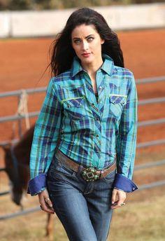 CRUEL GIRL Plaid RODEO Western Barrel ARENA Performance SHIRT COWGIRL NWT Medium #CruelGirl #Western