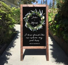 Wedding Chalkboard Sign Easel I Have Found The One Whom My Soul Loves Song Of Solomon | Wedding Sandwich Board | Rustic Wedding Decor