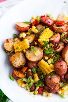 Southwest Roasted Potato Salad recipe - One pan roasted red potato salad with bell pepper, corn, fresh dill and spices drizzled with olive oil. Veggie Dishes, Veggie Recipes, Whole Food Recipes, Cooking Recipes, Healthy Recipes, Whole30 Recipes, Healthy Desserts, Healthy Brown Rice Recipes, Recipes With Celery