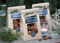 Bag up some spiced nuts for a lovely fall bridal shower.