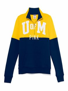 University of Michigan Colorblock Half Zip Pullover PINK