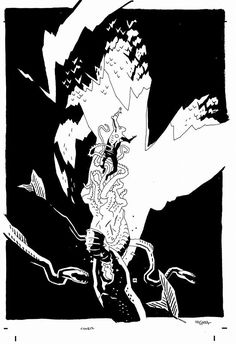 In Hell, but not Hellboy cover (new untitled collaboration with Brian Michael Bendis) by Mike Mignola *