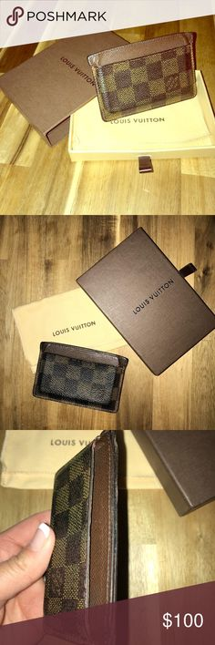 Louis Vuitton Damier Card Case Authentic pre-loved Louis Vuitton card case. This was my husband's go-to wallet for many years until he upgraded to a larger one. It's in fair condition as shown by the wear in the pictures but if you own anything LV, you know that this has a lot of life left in it. Comes with dust bag, box and even the tissue it was wrapped in. 😊 Louis Vuitton Accessories Key & Card Holders
