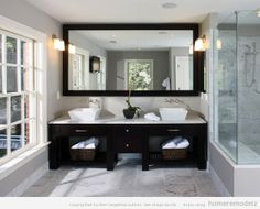 Bathroom, Grey Modern Bathroom Design Clean And Classic Master Bath Suite Bathroom Makeover Ideas: Charming Interior Small Bathroom Makeover Ideas Large Bathroom Mirrors, Large Bathrooms, Modern Bathroom, Bathroom Vanities, White Bathroom, Vanity Mirrors, Bathroom Interior, Wall Mirror, Bathroom Cabinets