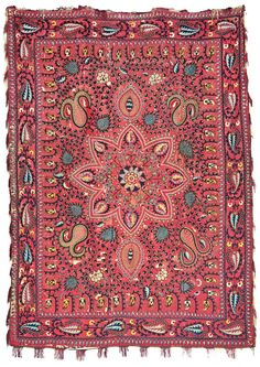Lot 667, SHAHRISYABZ SILK-GROUND SUZANI, UZBEKISTAN, FIRST HALF 19TH CENTURY. Estimate £20.000-40.000