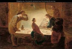 """""""A fortune-teller reading a young girl's palm at a table, with three men watching"""" by (after) Leonaert Bramer"""