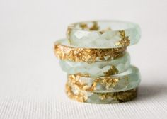 Jewelry at Rosella Resin - pale seaglass multifaceted eco resin ring with gold flakes - via Etsy.                                                                                                                                                     More