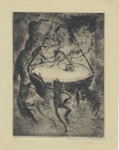 Bauer, Hermann (1892-1976): Dr. Willy Tropp zu eigen. Geister um brodelnden Kessel. 'Hexenkessel'.