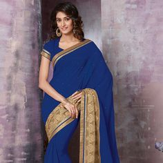 #Blue Faux #ChiffonSaree with Blouse